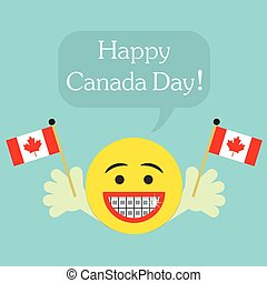 Happy Canada Day! smiley face icon with big smile and...