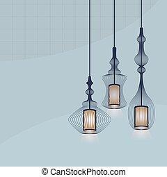 Set of hanging lanterns lights set