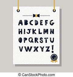 Navy blue capital letters icons set - Cute navy blue doodle...