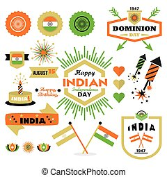 Happy Indian Independence Day design elements set