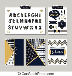 Golden navy blue design element set - Golden and dark navy...