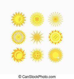 Cute yellow sun & flowers icons set