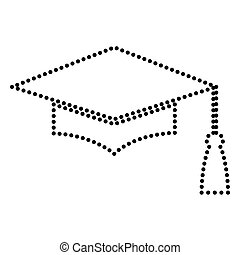 Mortar Board or Graduation Cap, Education symbol. Dot style...