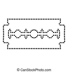Razor blade sign. Dot style or bullet style icon on white.