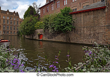 Scenic view of Bruges - Beautiful view of Bruges' canals and...