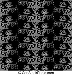 Charcoal victorian floral wallpaper