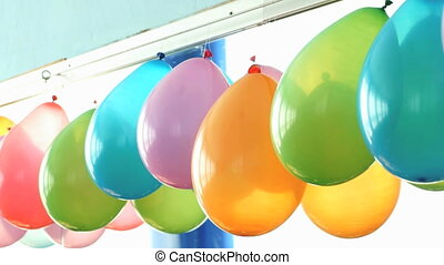 The design of a hall in the kindergarten balloons