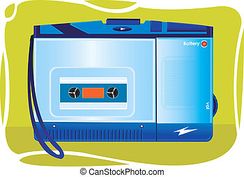 Cassette player - Portable cassette player on an yellow...