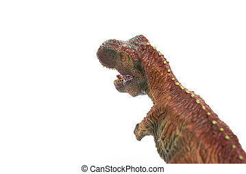 tyrannosaurus toy on a white background with copy space