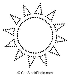 Sun sign illustration. Dot style or bullet style icon on...