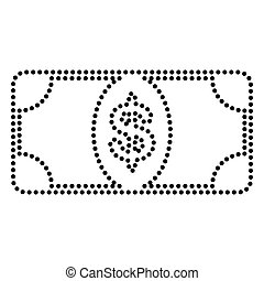 Bank Note dollar sign. Dot style or bullet style icon on...