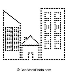 Real estate sign. Dot style or bullet style icon on white.
