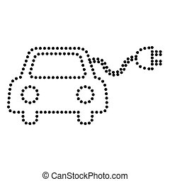 Eco electric car sign. Dot style or bullet style icon on...