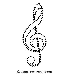 Music violin clef sign. G-clef. Treble clef. Dot style or...