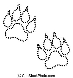 Animal Tracks sign. Dot style or bullet style icon on white.