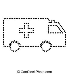 Ambulance sign illustration. Dot style or bullet style icon...