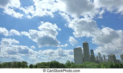 Chicago Skyline with Clouds Crossing the Sky Video timelapse...