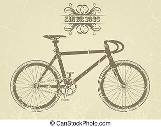 Illustration of a vintage sport bike, with a bird and the...