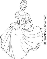 Running Cinderella Coloring Page - Cinderella flees the ball...