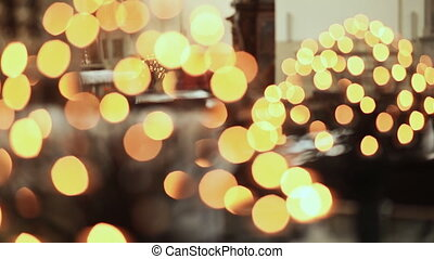 Ceremonial candle in the Catholic Church Blurred image -...