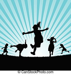 child play in nature silhouette illustration