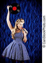 singing pin-up girl