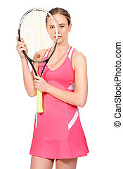 tennis racquet - Portrait of a girl tennis player with...