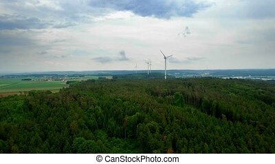 4K Aerial, Powerpoles in bavarian landscape, Germany -...