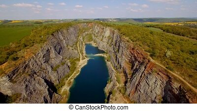 4K Aerial, Gorge Lom Velka Amerika, Czech Republic - Graded...