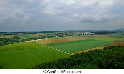 4K Aerial, Flying Over Bavarian Landscapes, Germany - Graded...