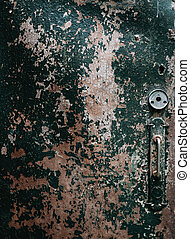 Old door - Close-up image of old wooden door with cracked...
