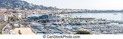Cannes France - aerial view of Le Suquet- the old town and...