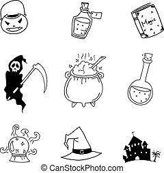Halloween hand draw doodle