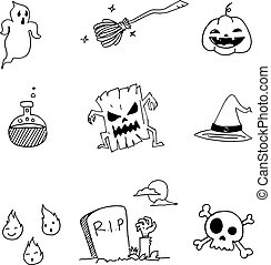 Doodle of Halloween with hand draw