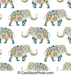 Seamless pattern of colorful elephants