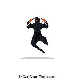 Vector Asian Ninja Cartoon Illustration. Asia Assasin fighter.