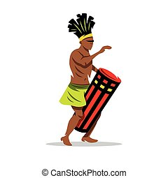Vector Man playing the Drum. African music Cartoon Illustration.
