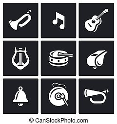Vector Set of Musical Instruments Icons. Trumpet, Note,...
