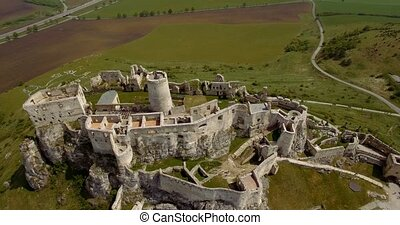4K Aerial, Ancient Castle, Spissky - Graded and stabilized...