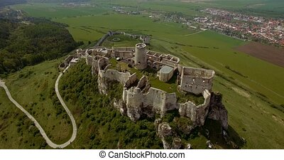 4K Aerial, Ancient Castle, Spissky Hrad in Slovakia - Graded...