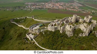 4K Aerial, Ancient Castle, Slovakia - Graded and stabilized...