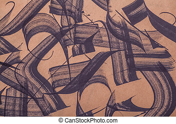 Brush strokes abstract - Random black paint brush strokes on...