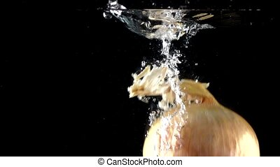 High speed camera shot: onion splashes in water, black...