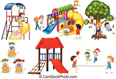 Kids playing games and playing slides illustration