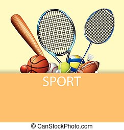 Poster design with sport equipments illustration