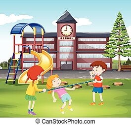 Children playing with bar in the playground illustration