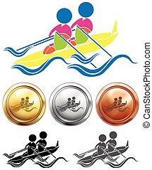 Kayaking icon and sport medals