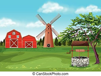 Barns and windmill in the farmyard illustration