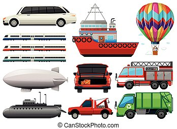 Different types of transportations illustration