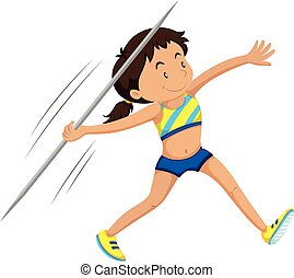 Woman athlete doing javelin illustration